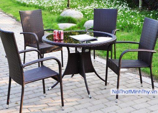 Bàn ghế cafe nhựa giả mây MT272