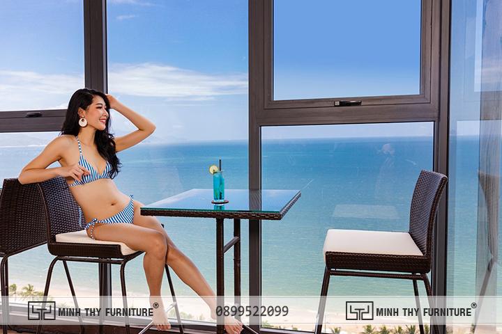 ghế quầy bar mây nhựa