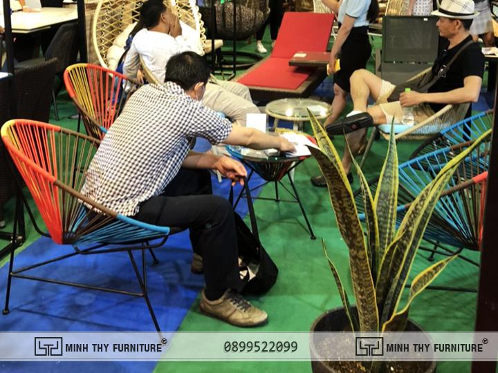 Bàn Ghế Cafe Sân Vườn Đan Dây Dù MT2029